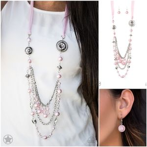 AllThe Trimmings Pink Ribbon Charm Necklace Set